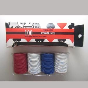 100 Plastic Poker Chips - 25 Red 25 Blue 50 White
